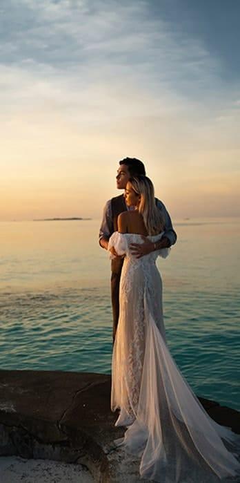 Couple enjoying the sunset view
