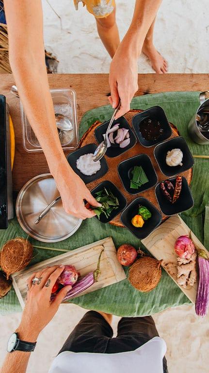 Ingredients arranged for a Maldivian breakfast experience Fushifaru Maldives
