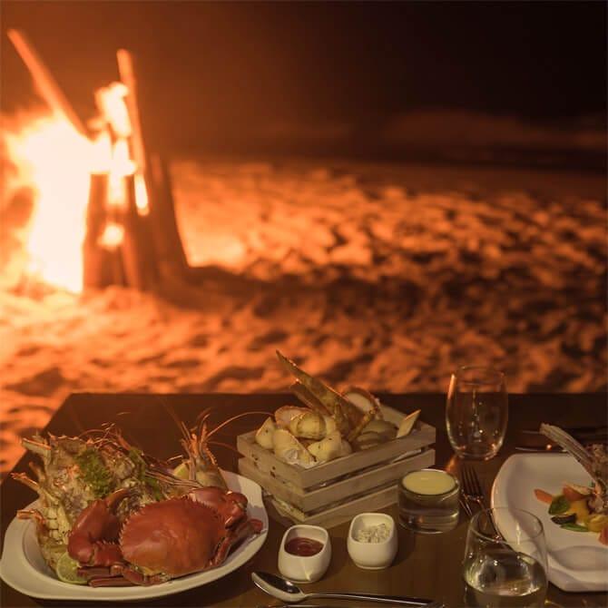 Sandbank BBQ Dinner setup