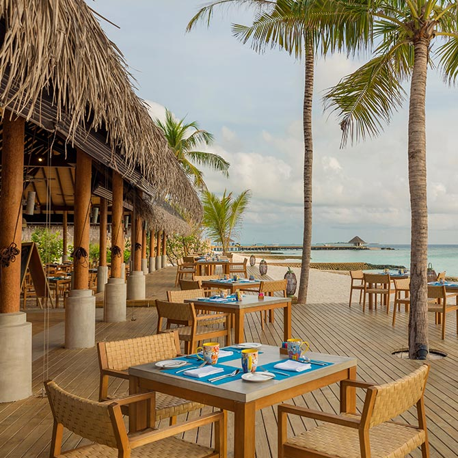Korakali restaurant seating arrangement with Oceanview