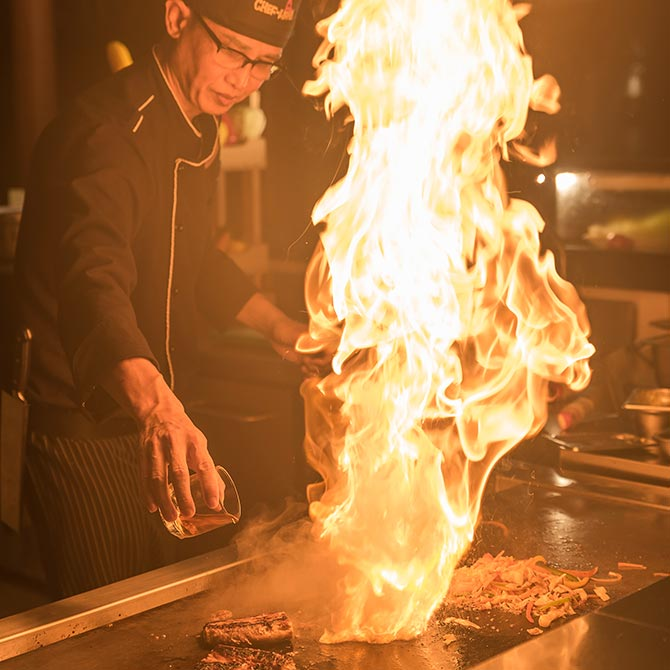 Live-action at Teppanyaki restaurant