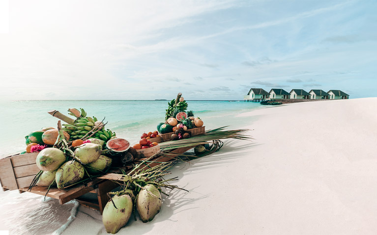 Display of exotic fruits arranged by the lagoon