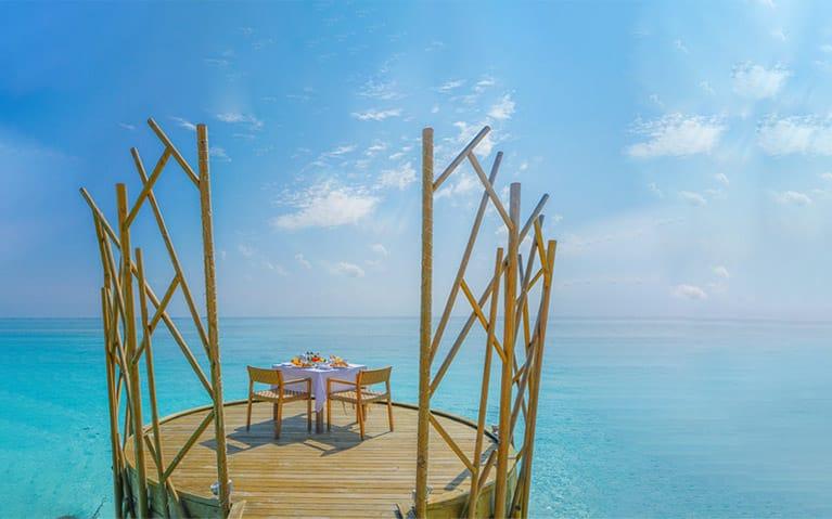 Handhu platforms with an ocean view arranged to serve Malaafai a Maldivian feast