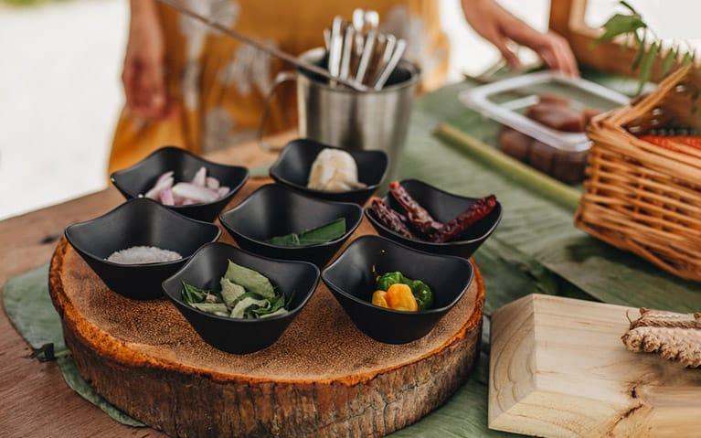 Ingredients arranged to prepare a Maldivian breakfast