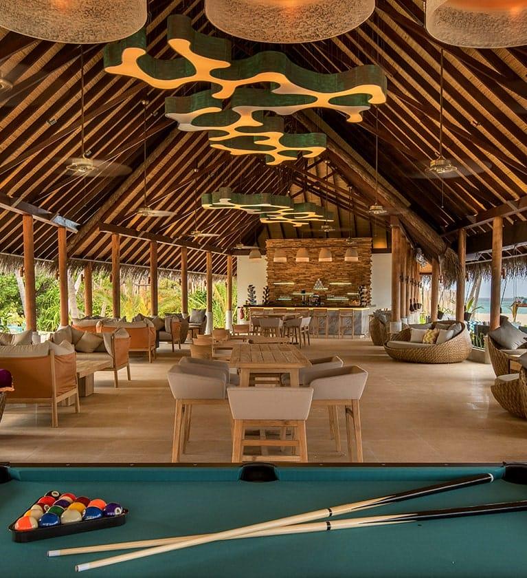 Billiard Table at Fanihandhi Bar, Fushifaru Maldives