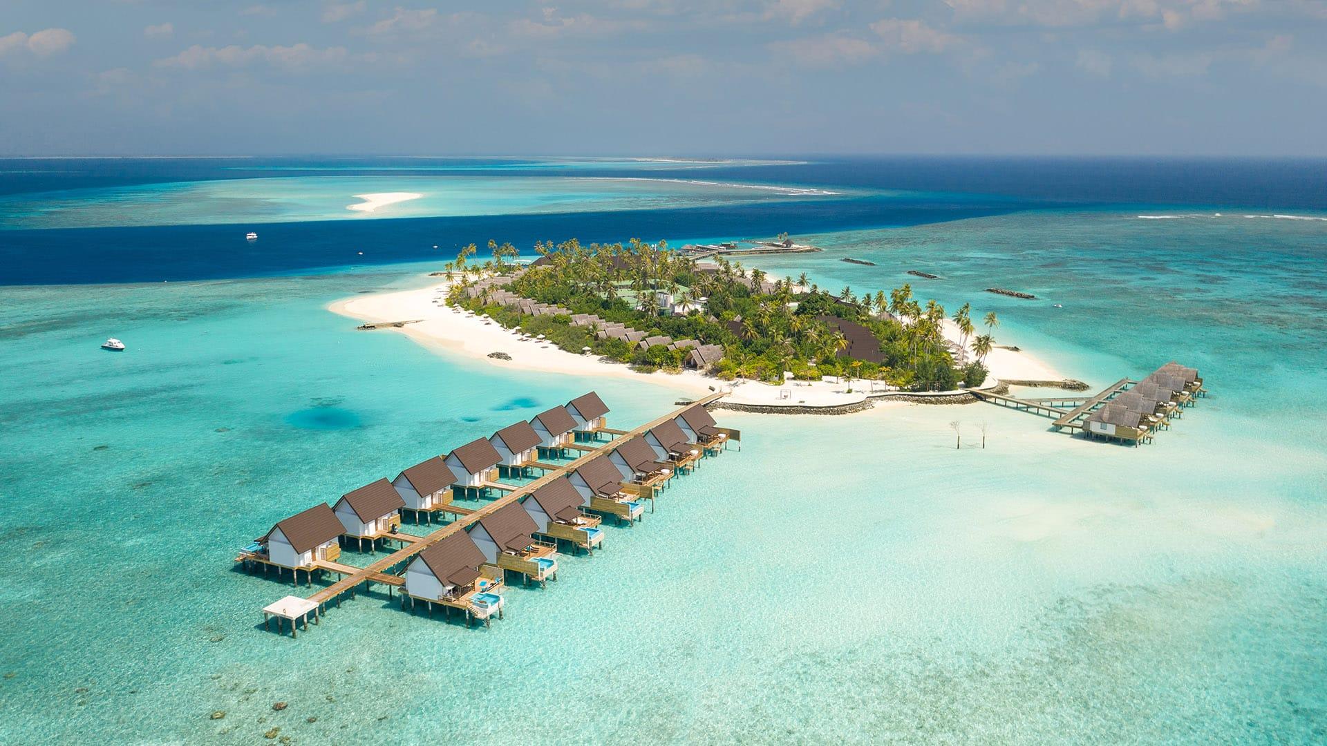 A bird's-eye view of Fushifaru Maldives Resort
