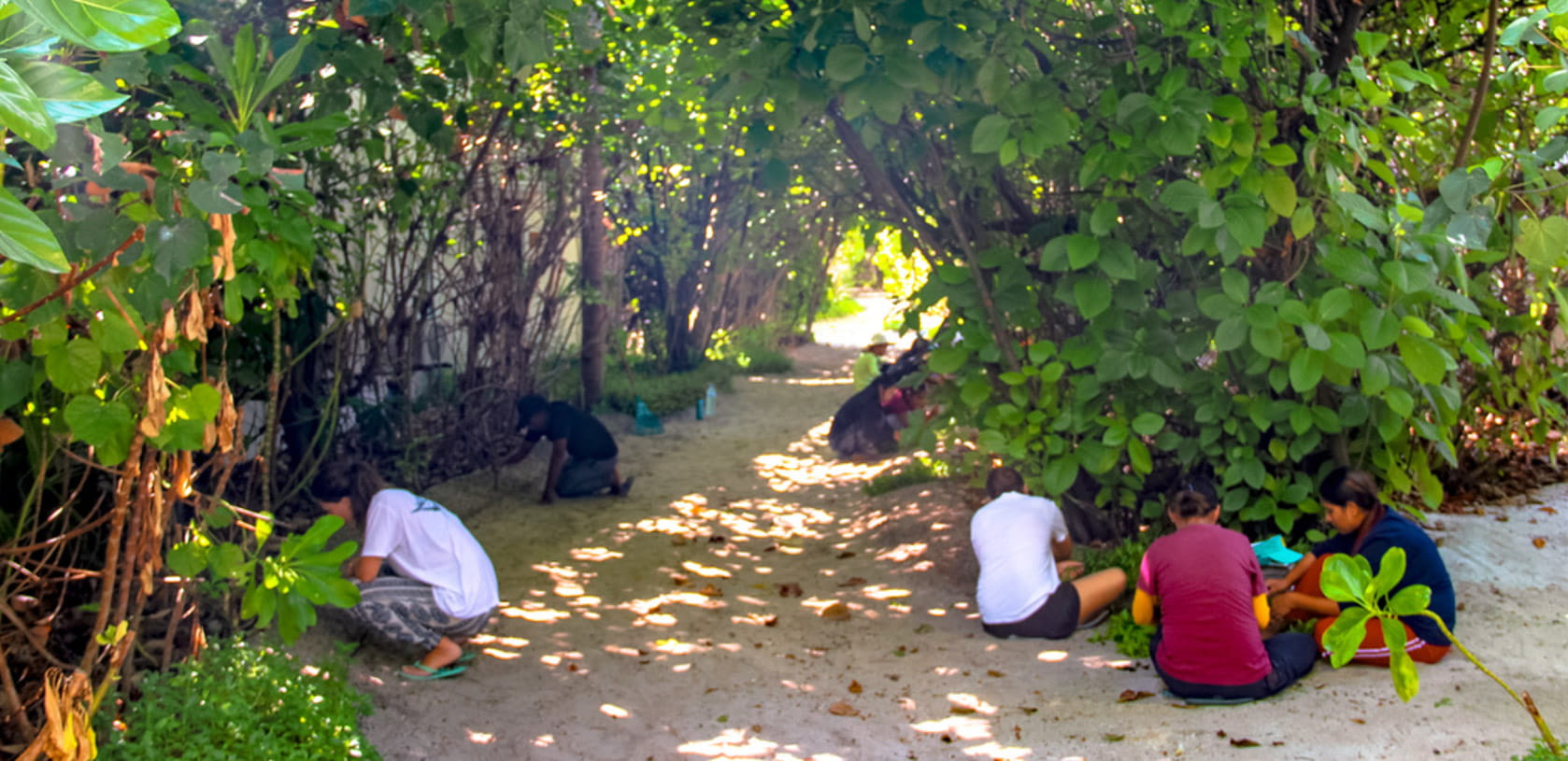 Fushifaru team planting flowers, herbs & vegetables on the island