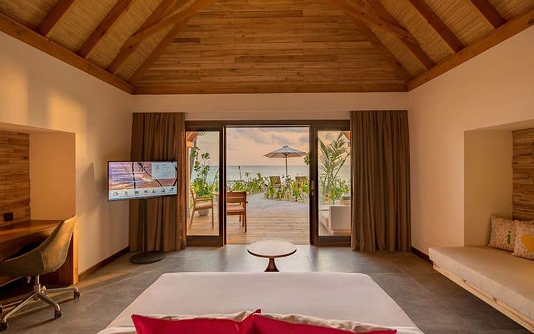 Sunrise beach villa at the Fushifaru Maldives resort