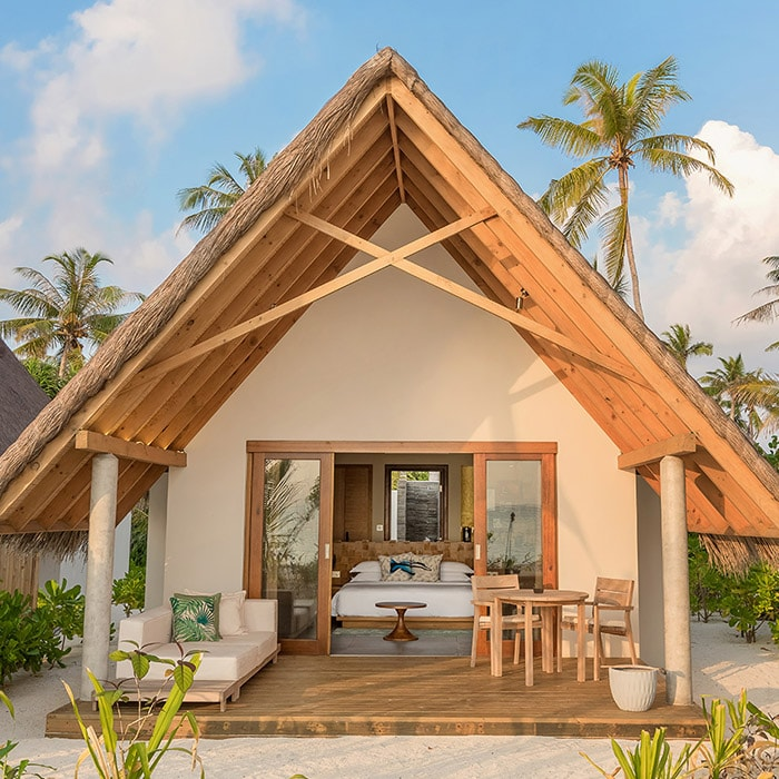 Sunrise pool beach villa at Fushifaru Maldives