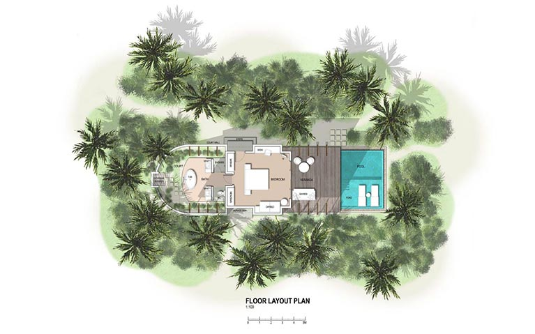 The floor plan of the Sunset beach villa with private pool