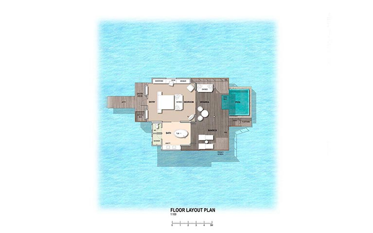 The floor plan of the water villas with private pool