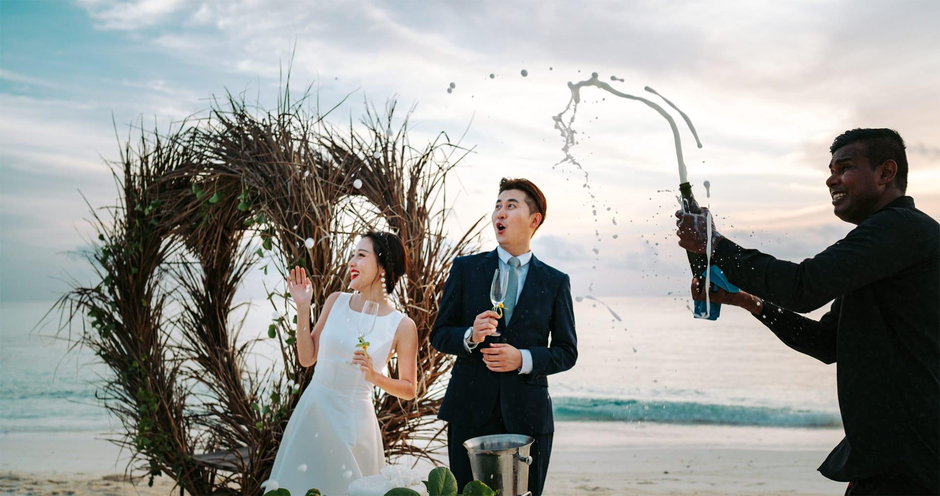 Celebratory champagne bottle opening in Wedding